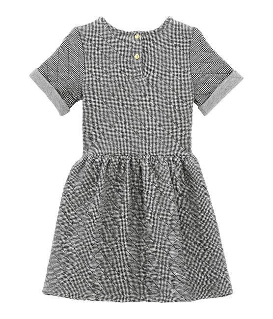 Mädchen Kurzarmkleid grau Capecod / weiss Marshmallow