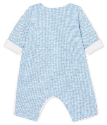 Langer Baby-Overall aus gestepptem Doppeljersey blau Acier / weiss Marshmallow
