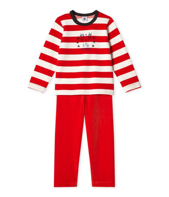 Pyjama garçon en velours rot Froufrou / weiss Lait