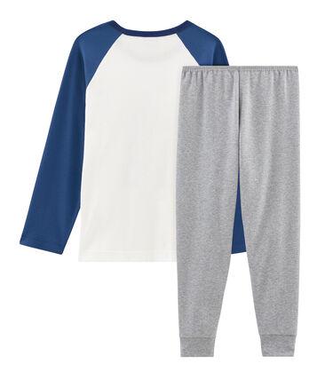 Rippstrick-Pyjama für kleine Jungen grau Subway / weiss Multico