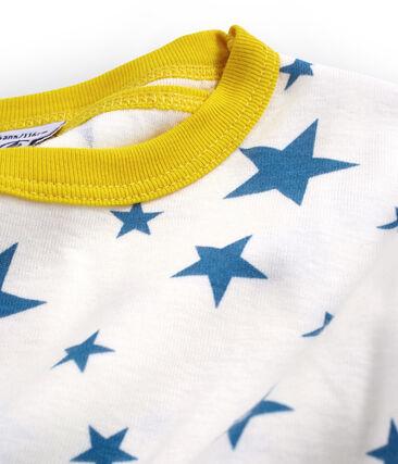 Sehr eng anliegender Rippstrick-Kurzpyjama für kleine Jungen weiss Marshmallow / blau Alaska