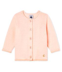 Basic-Baby-Cardigan aus Woll-/Baumwollstrick für Mädchen rosa Fleur