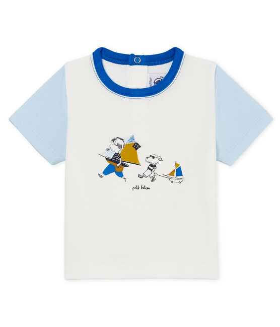 Kurzärmeliges baby-t-shirt mit motiv jungen weiss Marshmallow / blau Toudou