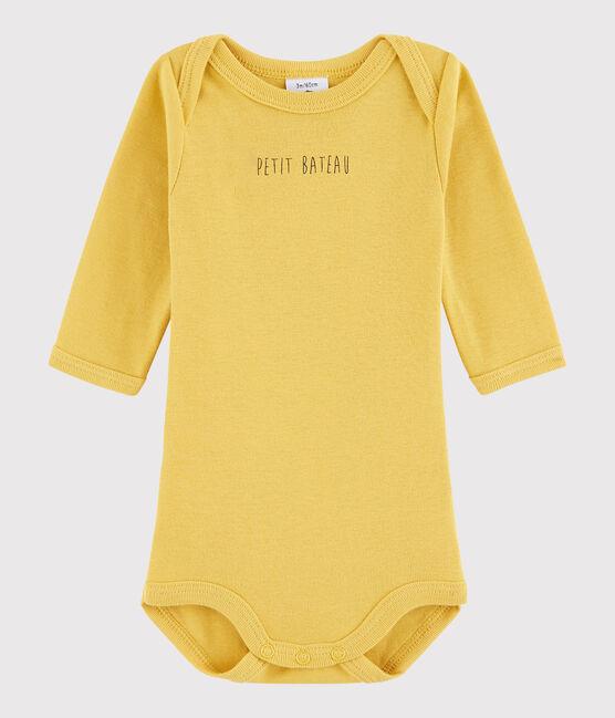 Langärmeliger Baby-Body Jungen gelb Ocre