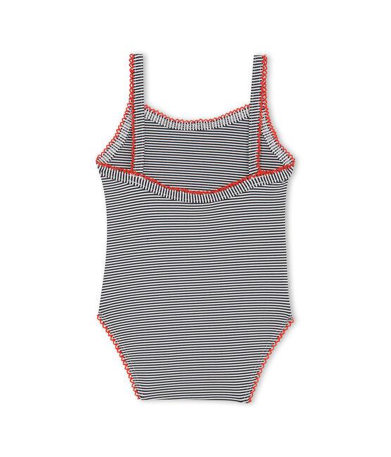 Einteiliger Baby-Badeanzug mit Milleraies-Streifenmuster Mädchen blau Abysse / weiss Lait