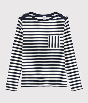 Gestreiftes Damen-T-Shirt blau Smoking / weiss Marshmallow