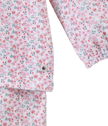 Bedruckter Mädchen-Schlafanzug aus Nicki weiss Ecume / weiss Multico