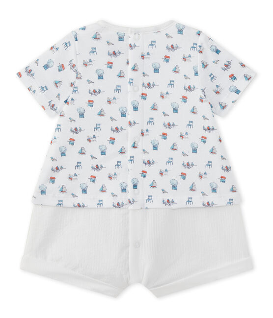 Kurzer Baby-Jungen-Einteiler im Materialmix weiss Ecume / weiss Multico