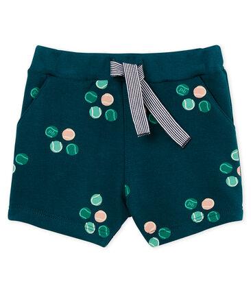 Gemusterte baby-shorts jungen grün Pinede / weiss Multico
