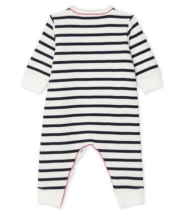 Baby Strampler aus Molton weiss Marshmallow / blau Smoking