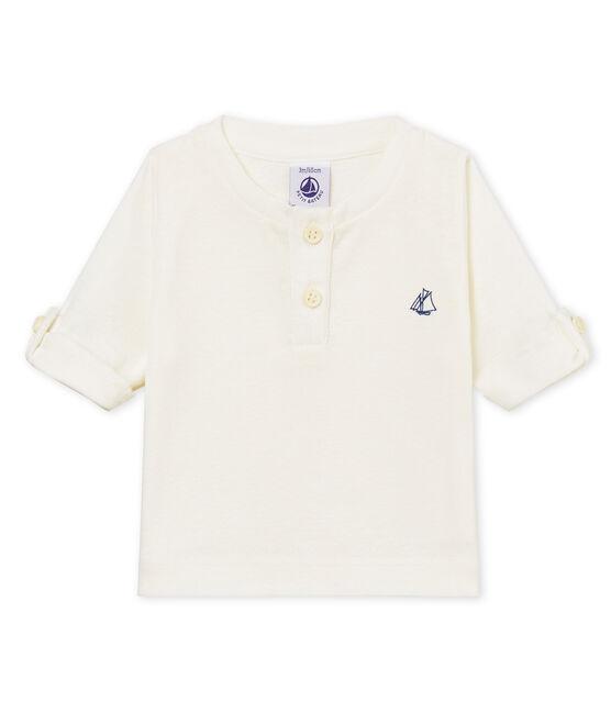 Langärmeliges baby-t-shirt aus baumwolle leinen jungen weiss Marshmallow