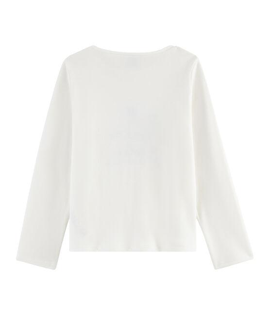 Langarm-T-Shirt für Mädchen weiss Marshmallow