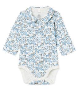 Langärmeliger Neugeborenen-Body aus Rippstrick für Jungen weiss Marshmallow / blau Toudou