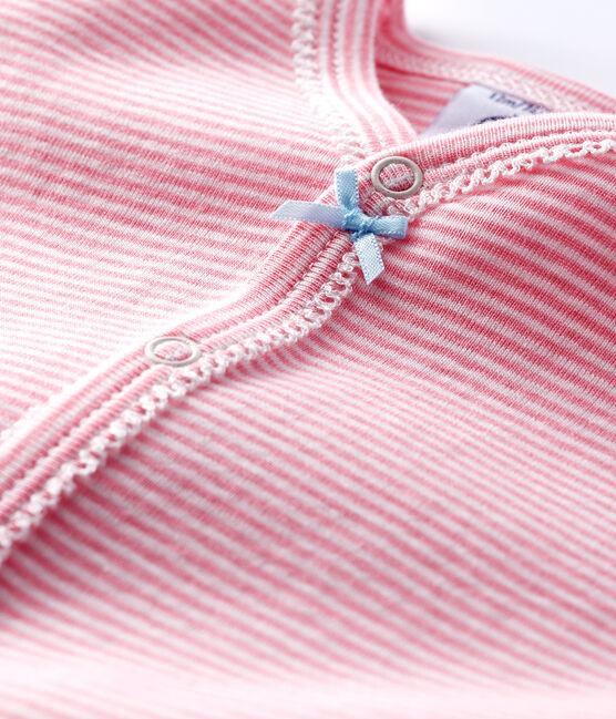 Baby-Strampler mit rosafarbenem Milleraies-Streifenmuster ohne Fuß aus Rippstrick für Mädchen rosa Gretel / weiss Marshmallow