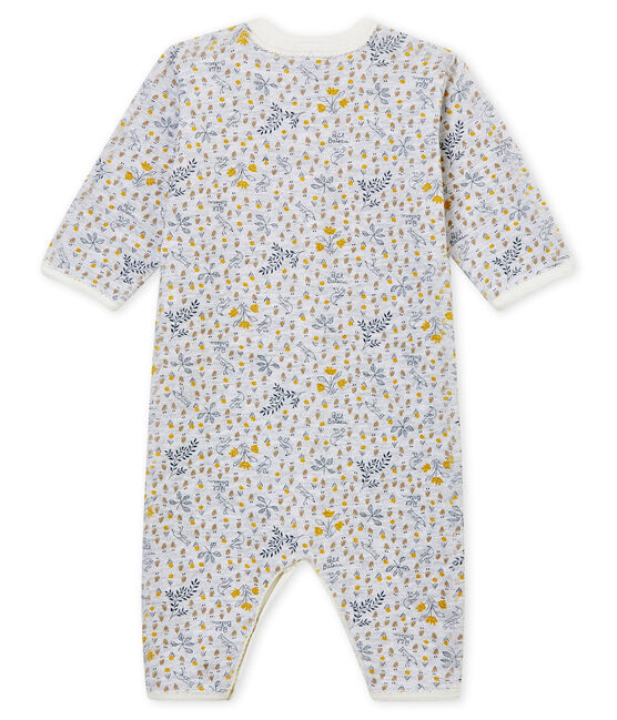 Baby Mädchen Strampler ohne Fuß in Rippstrick grau Poussiere / weiss Multico