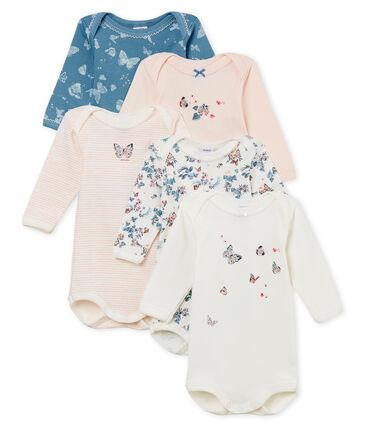 5er-Set langärmelige Baby-Bodys aus baumwolle für Mädchen