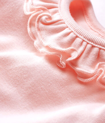 Langärmliger Baby-Body mit breitem Rüschenkragen für Mädchen rosa Fleur