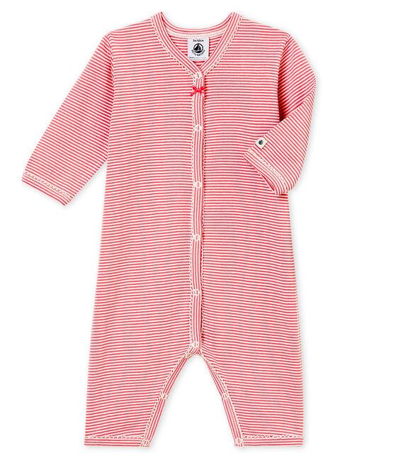 Baby MädchenStrampler ohne Fuß rosa Cheek / weiss Marshmallow