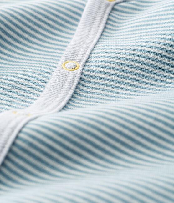 Baby-Strampler ohne Füße aus Rippstrick für Jungen blau Fontaine / weiss Marshmallow