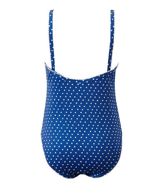 Mädchen-Badeanzug mit Punktmuster blau Perse / weiss Marshmallow