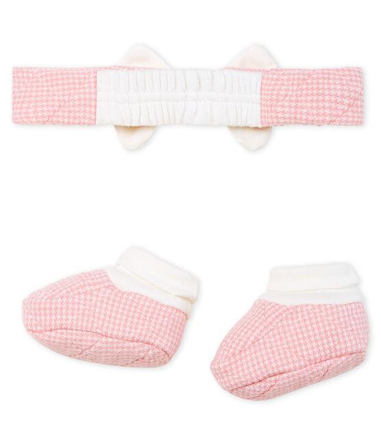 Set mit Haarband und Babyschuhen aus gestepptem Doppeljersey für Mädchen lot .