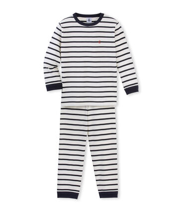 Gestreifter Jungen-Schlafanzug beige Coquille / blau Smoking