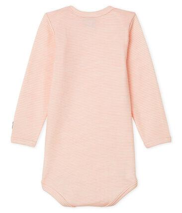 Langärmliger Baby-Body aus Wolle und Baumwolle rosa Charme / weiss Marshmallow