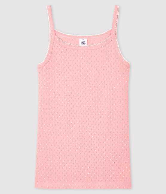 Fantasievolles Damen-Trägershirt rosa Charme / weiss Ecume