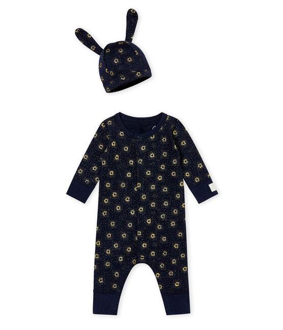 Baby Jungen Overall und Mütze im Set blau Smoking / gelb Dore