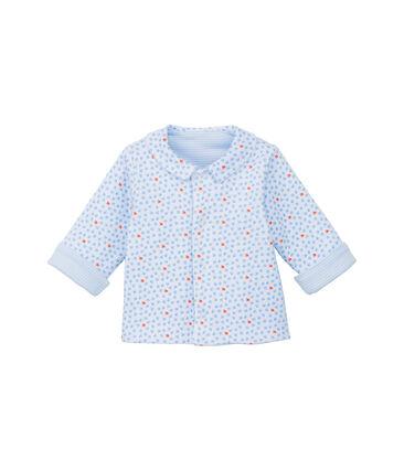 Baby-Jacke, Unisex, wattiert, 2-seitig, Ringelmuster blau Fraicheur / weiss Ecume