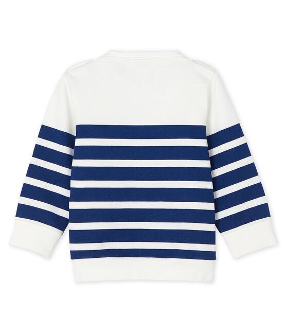 Baby Jungen Sweatshirt gestreift weiss Marshmallow / blau Medieval