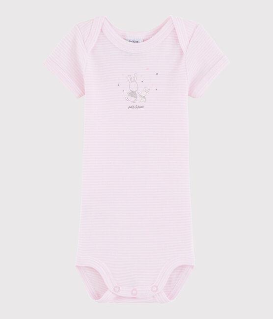 Kurzärmeliger Baby-Body Mädchen/Jungen rosa Doll / weiss Ecume