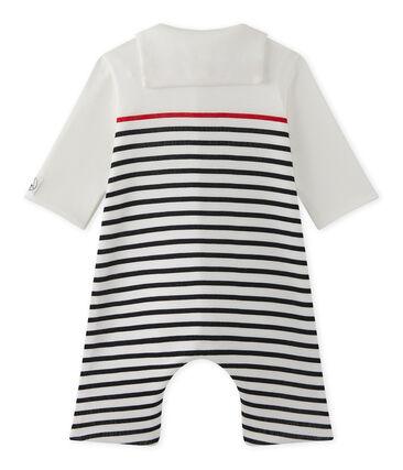 Gestreifter Baby-Jungen-Overall mit Matrosenkragen weiss Lait / blau Smoking
