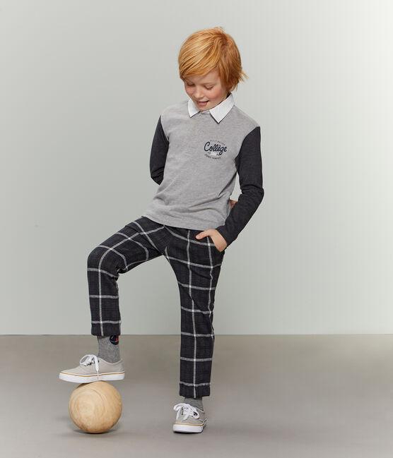 Rugby-Poloshirt für Jungen grau Subway / schwarz City