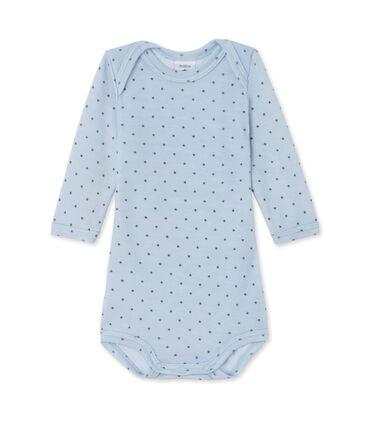 Langärmeliger Baby-Jungen-Body aus Wolle/Baumwolle blau Fraicheur / grau Tempete