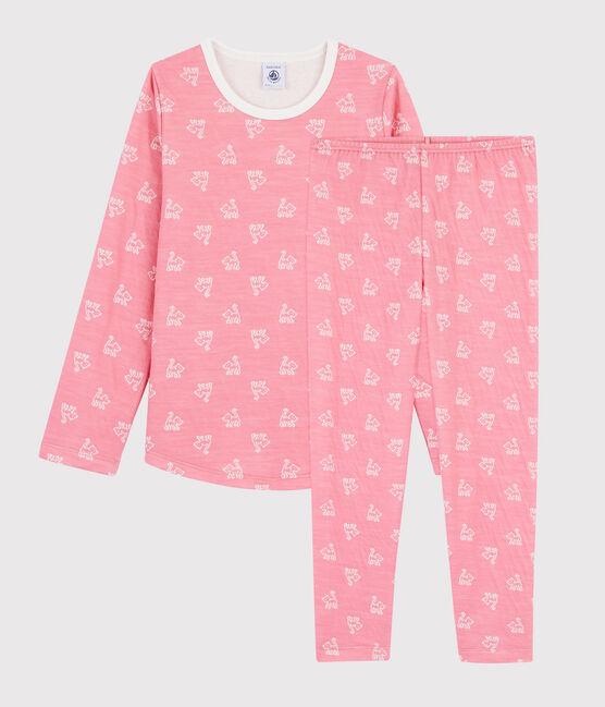 Jacquard-Pyjama mit Katzen-Motiv aus Wolle und Baumwolle für kleine Mädchen rosa Cheek / weiss Marshmallow