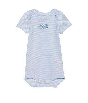 Baby-Body für Jungen, Kurzarm, geringelt blau Fraicheur / weiss Ecume