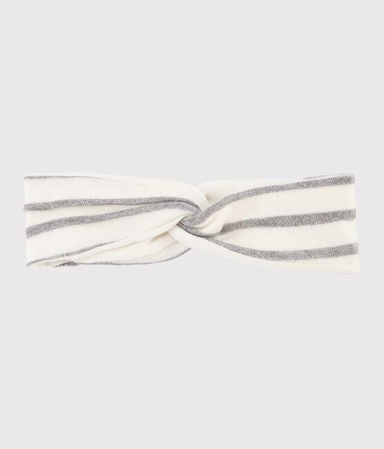 Baby-Haarband mit Streifen für Mädchen weiss Marshmallow / grau Argent