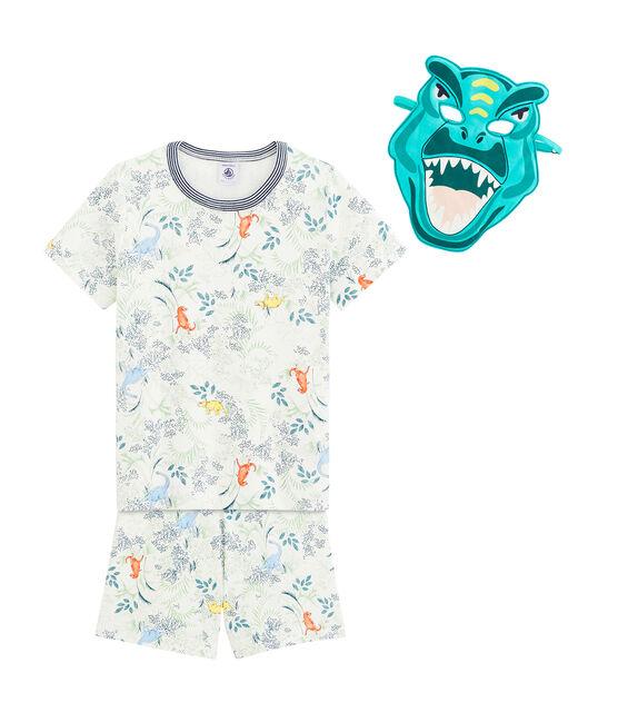 Kurz-Pyjama für kleine Jungen mit Maske weiss Marshmallow / weiss Multico