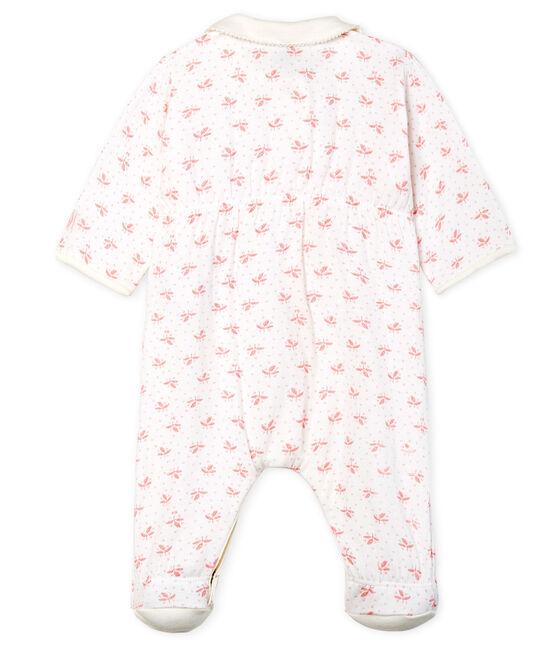 Baby-Strampler aus Doppeljersey für Mädchen weiss Marshmallow / rosa Gretel