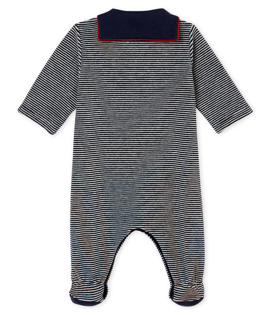 Baby Jungen Strampler mit Milleraies Ringelstreifen blau Smoking / weiss Multico