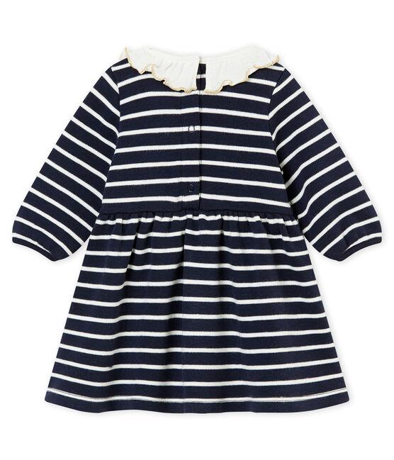 Baby MädchenKleid mit Marinestreifen blau Smoking / weiss Marshmallow