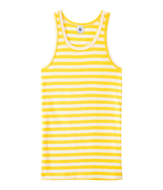 Gestreiftes Damen-Top aus Original-Rippstrick gelb Shine / weiss Marshmallow