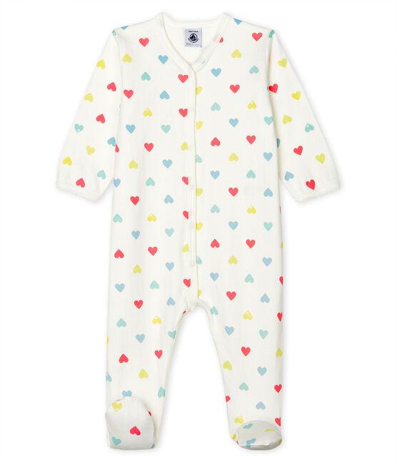 Baby-Strampler aus Doppeljersey für Mädchen weiss Marshmallow / weiss Multico