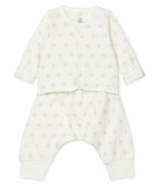 2-teiliges Baby-Set aus Doppeljersey, Unisex weiss Marshmallow / beige Perlin