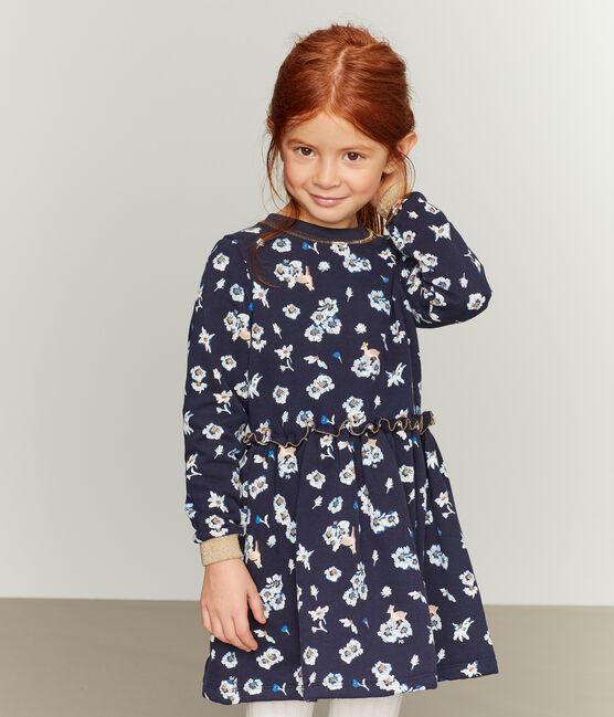 Gemustertes Kleid Mädchen blau Smoking / weiss Multico