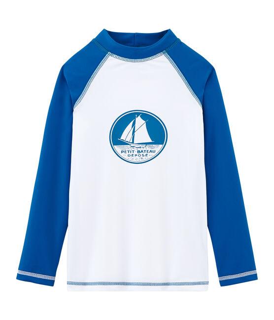 Sonnenschutz-T-Shirt Mädchen und Jungen weiss Marshmallow / blau Riyadh