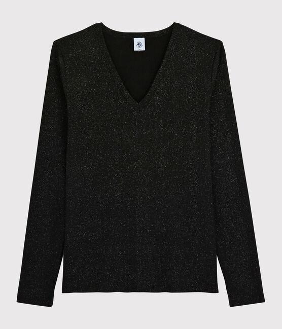Damen-T-Shirt mit V-Ausschnitt NOIR/ARGENT