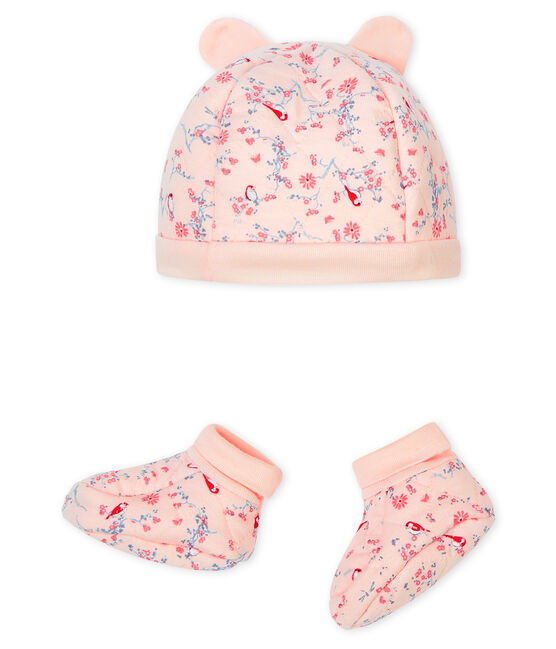 Set mit Mützchen für Neugeborene und Babyschuhen aus Doppeljersey rosa Fleur / weiss Multico