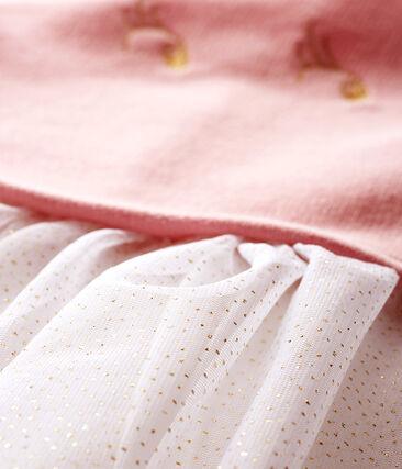 Langärmeliges Babykleid aus Materialmix für Mädchen rosa Charme / weiss Multico